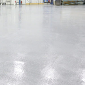 Factory floor high build epoxy coating with antislip compound.